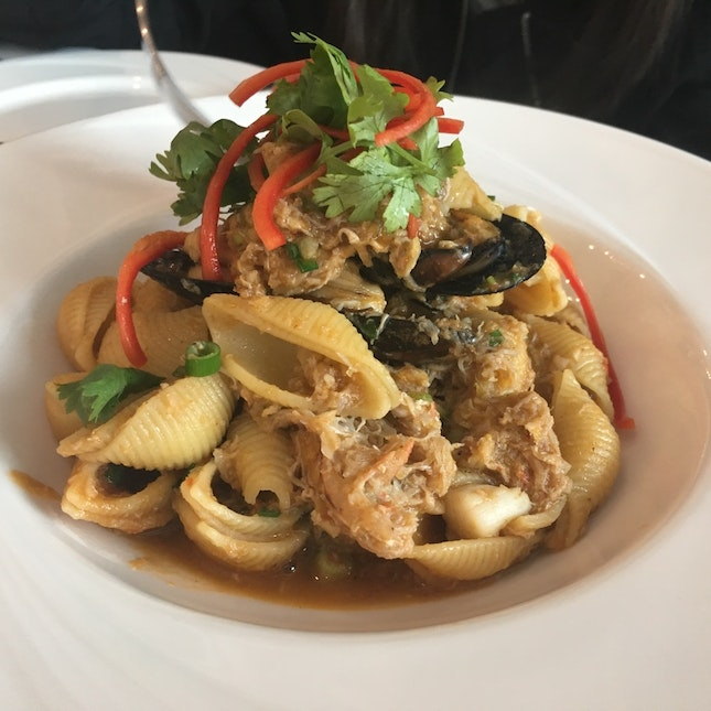 Chilli Crab And Mussel Pasta