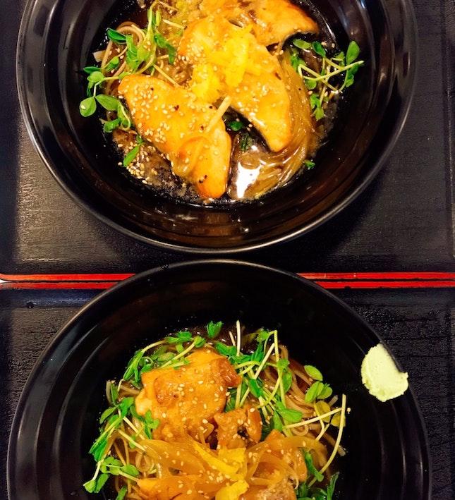 Yuzu Miso Chicken And Salmon Cold Soba