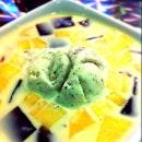 Sun Melon Grass Jelly With Cookies Ice Cream In Milk