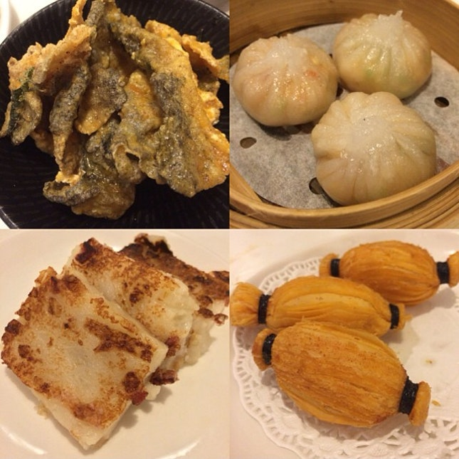 Part 3 - Crispy fish skin with salted egg yolk, steamed truffle dumpling with lobster, pan fried turnip cakes and baked durian pastry.