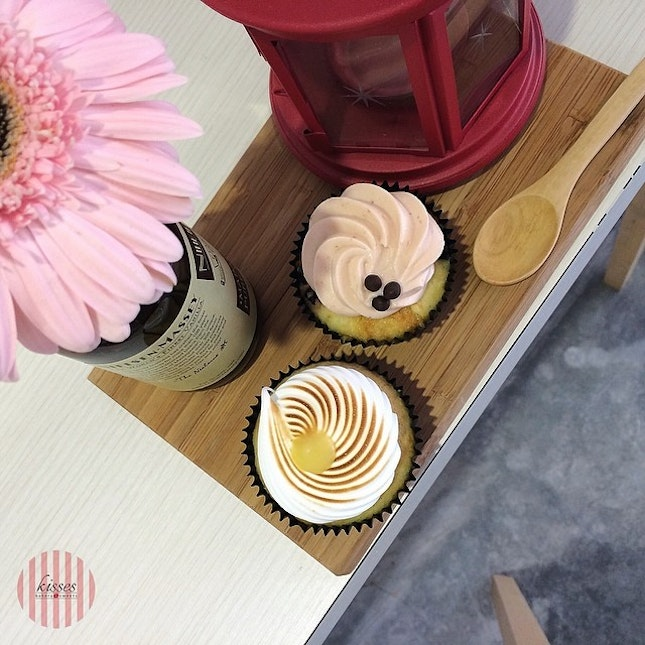 Kisses June Special - Lemon zest cupcake with lemon curd x Vanilla chocolate chip cupcake with strawberry cream cheese.