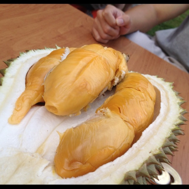 crazily good durians in a rustic setting