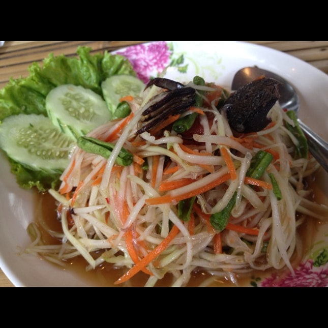 somtam with salted crab (THB80)
