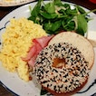 Sesame Bagel + Scrambled Eggs ($16++)