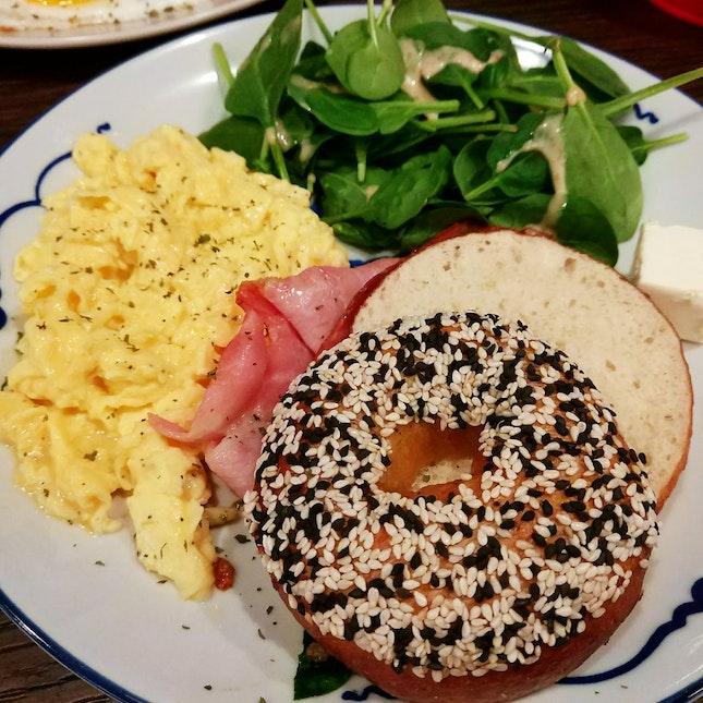 Sesame Bagel + Scrambled Eggs ($16++)