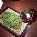Green tea soba 🍵 my personal fave #soba #japanese #lunch #greens