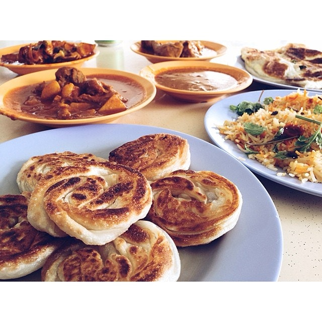 coin prata and a whole load of curry items