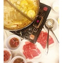 Some hot comfort food for us after getting wet from the pool party #xiandelai #steamboat #buffet #tomyum #ducksoup #beef #foodporn #sgfood #burpple