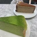 Matcha and salted caramel crepe cake