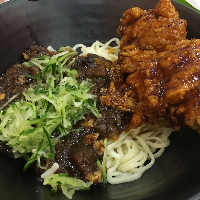 JjaJang Myeon With Chicken Cutlet