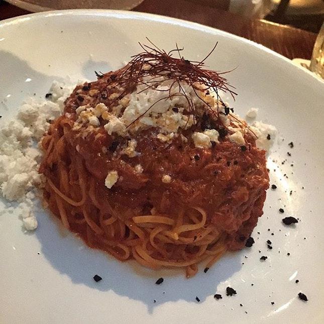 Homemade #tagliolini with crab and nduja (spicy Pork Salami)!