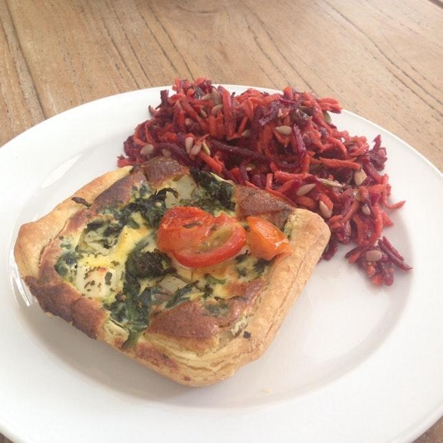Spinach And Feta Tart With Beet Carrot Salad