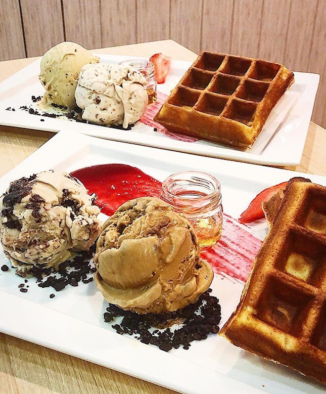 French waffles with double scoops ($13.60).