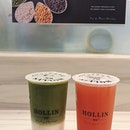 Green Tea Latte ($3.20) + Strawberry pearls ($0.70), Pink guava green tea ($2.90) + Honey white pearls ($0.70)