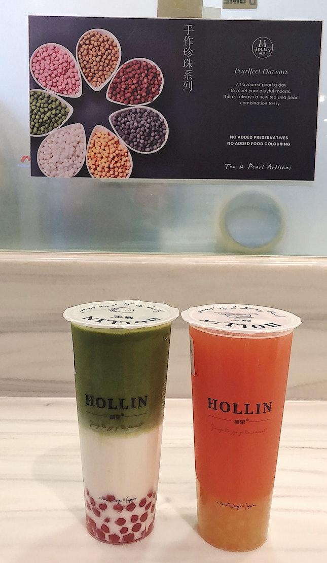 Green Tea Latte ($3.20) + Strawberry pearls ($0.70), Pink guava green tea ($2.90) + Honey white pearls ($0.70)