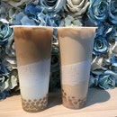 Earl Grey milk tea with honey pearls ($4.40), Earl Grey Tea Latte with Taro Paste and Rock Salt pearls ($5.20).