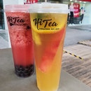 Watermelon lime Jasmine tea ($5.60) + Honey Boba ($0.70), Mix fruit King Oolong Tea ($5.80).