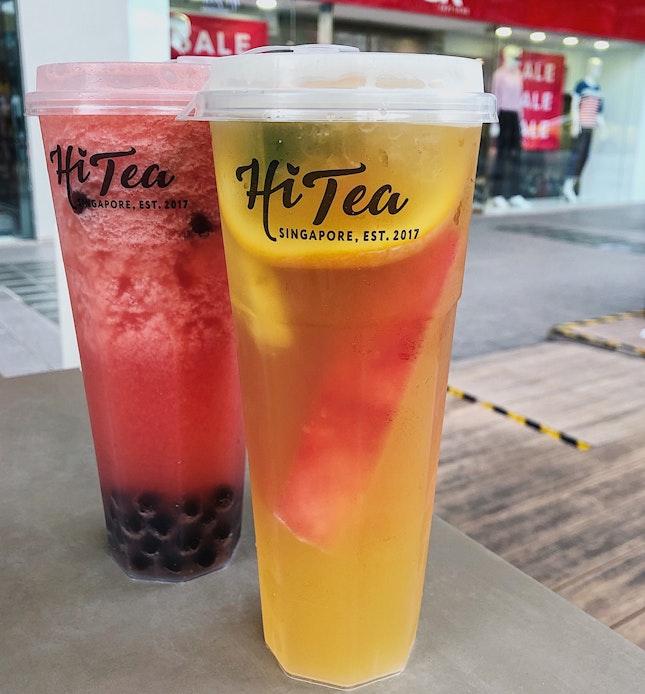 Watermelon lime Jasmine tea ($5.60) + Honey Boba ($0.70), Mix fruit King Oolong Tea ($5.80).