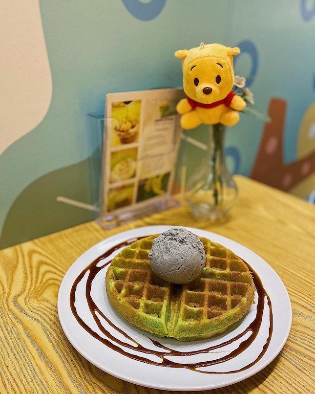Black sesame gelato on coconut pandan waffles ($15.50).