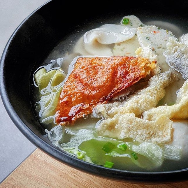 Comfort is huge bowl of mee tai mak soup with balls and pastes.