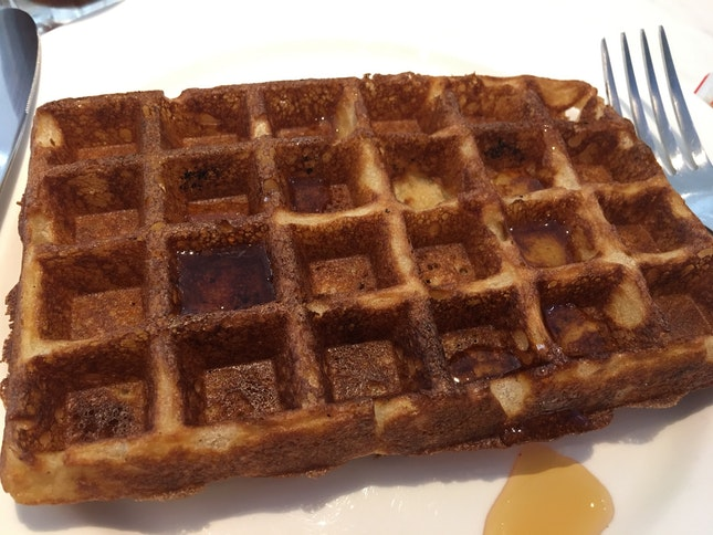 Sourdough Buttermilk Waffle With Maple Syrup And Butter