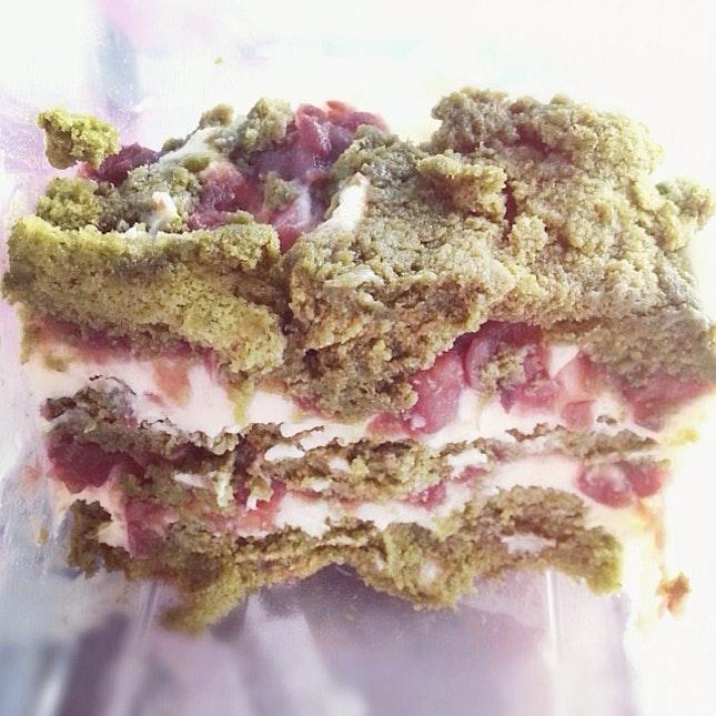 Matcha sponge layered with azuki beans and mascarpone cheese!